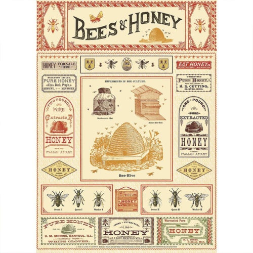 Cavallini Poster Wrap - Bees & Honey