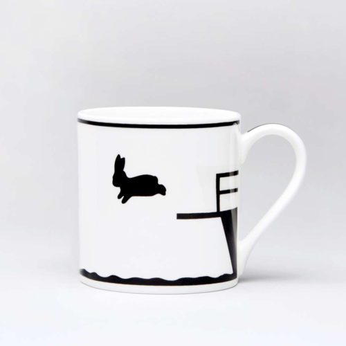 HamMade Fine China Mug - Diving Rabbit