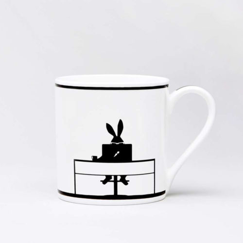 HamMade Fine China Mug - Working Rabbit