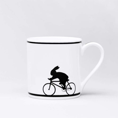 HamMade Fine China Mug - Cycling Rabbit