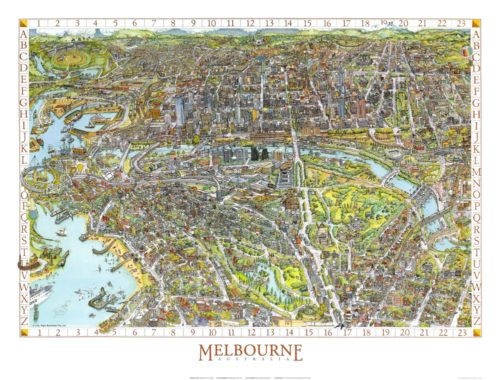 The Melbourne Map 1991 Colour Print Map - Small