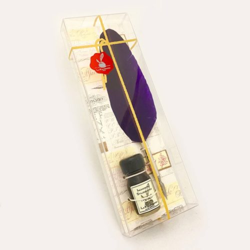 Feathered Quill and Ink in Clear Box - Violet