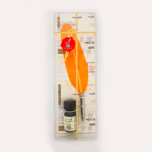Feathered Quill and Ink in Clear Box - Orange