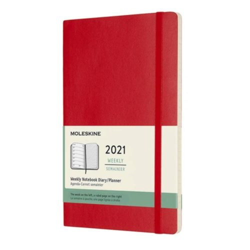 Moleskine - 2021 Soft Cover Diary - Weekly Notebook - Large - Scarlet Red