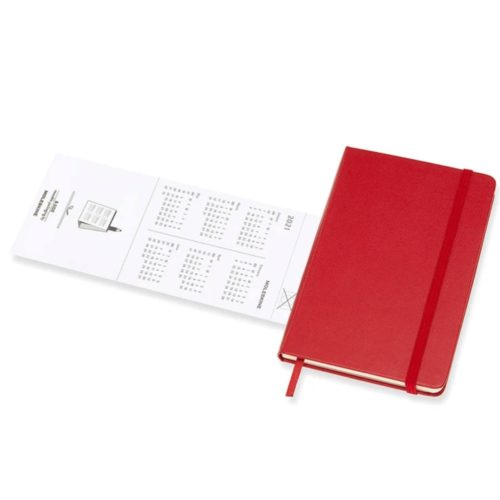Moleskine - 2021 Hard Cover Diary - Weekly Notebook - Pocket - Scarlet Red