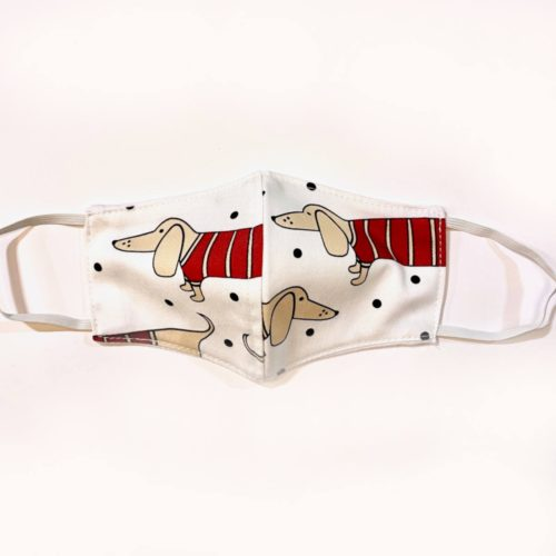 Reversible Cotton Face Mask – Dotted Dachshund/Plain White