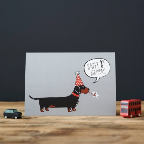 Sweet William Card – Dachshund 8th Birthday