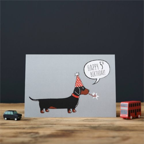 Sweet William Card – Dachshund 5th Birthday