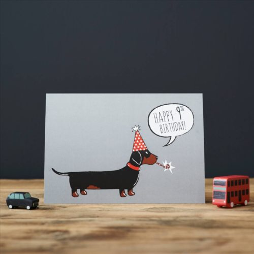 Sweet William Card – Dachshund 9th Birthday
