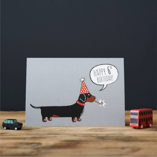 Sweet William Card – Dachshund 6th Birthday