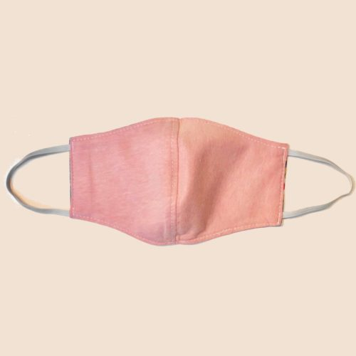 Reversible Cotton Face Mask – Flowering Fireworks /Plain Pink