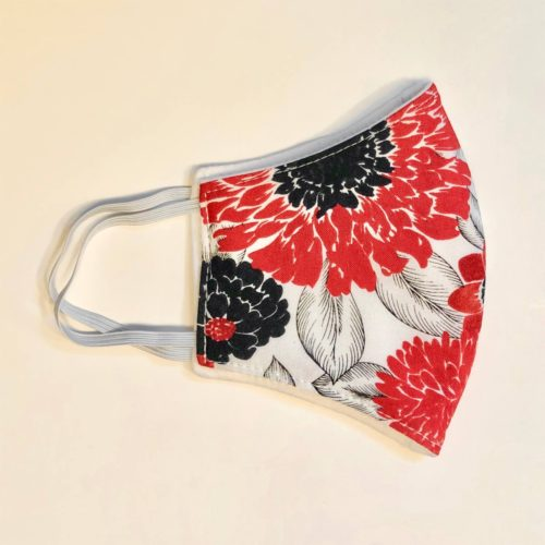 Reversible Cotton Face Mask – Red Dahlias /Plain White