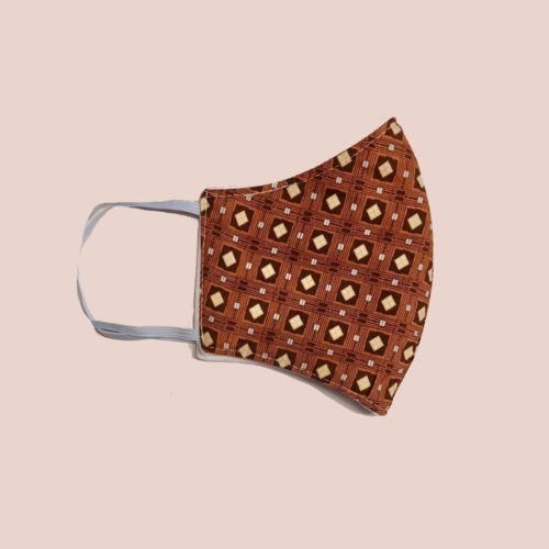 Reversible Cotton Face Mask – Brown Tiles/Plain White
