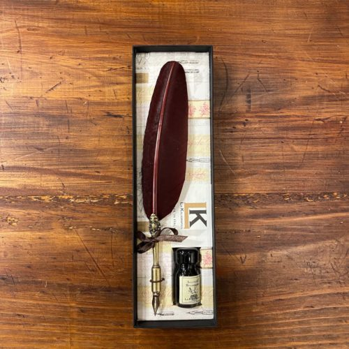Feathered Quill and Ink in Gift Box - Sepia