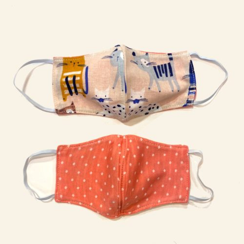 Reversible Cotton Face Mask - Cool Cats/Hot Pink Dots