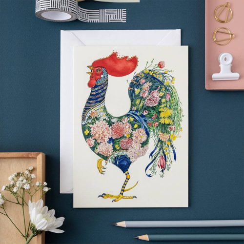 Daniel Mackie Card - Rooster with Flowers