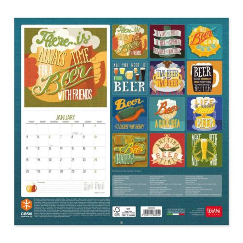 Legami 2021 Wall Calendar Small - Beer