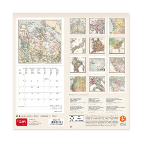 2021 Wall Calendar Small - Vintage Maps