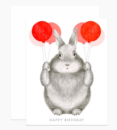 Dear Hancock Card - Rabbit with Balloons