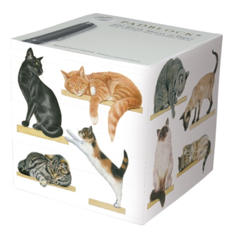 Notepad Cube 800 Sheets - Cats on Shelves