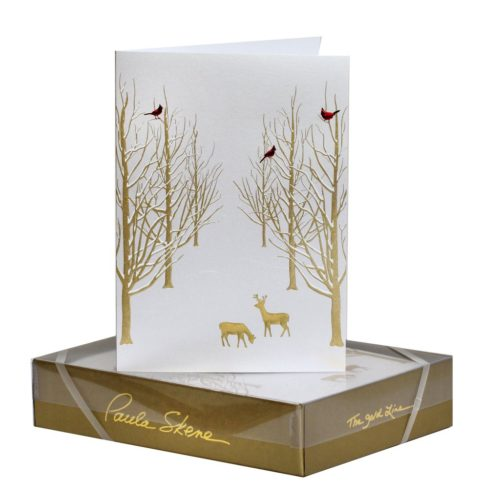 Luxury Boxed Christmas Cards – Snowy Forest Gold on Silver