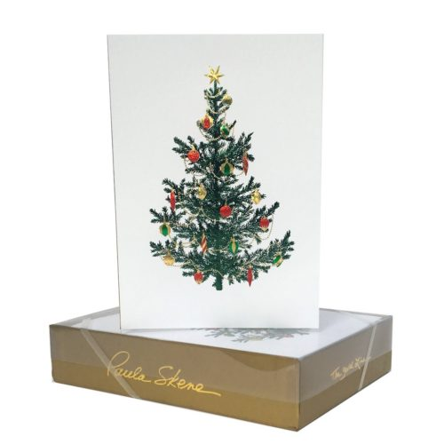 Luxury Boxed Christmas Cards – Tree With Ornaments White