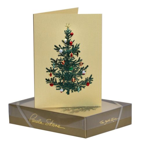 Luxury Boxed Christmas Cards – Tree With Ornaments Gold