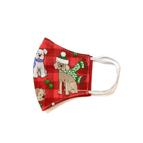 Reversible Cotton Face Mask – Christmas Dogs