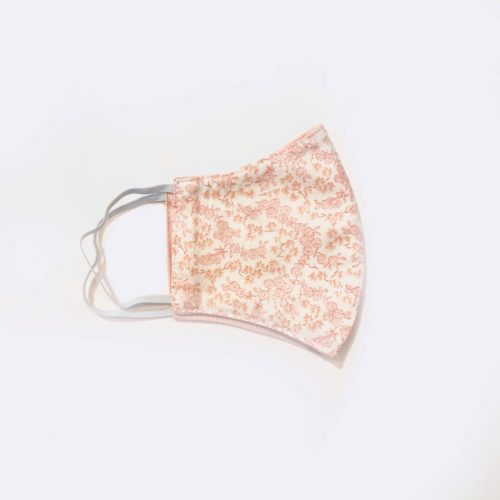 Reversible Cotton Face Mask - Pink flowers/Pink Dot