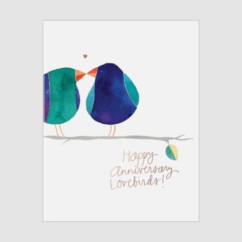 E. Frances Foil Card - Lovebirds Anniversary