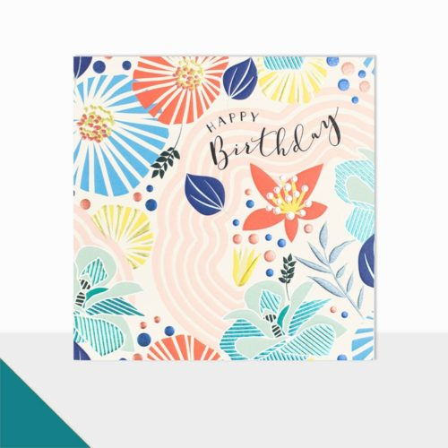 Glow Collection Card - Happy Birthday Foiled Flowers