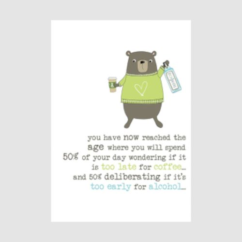 Words Of Wisdom Collection Card - Coffee and Alcohol