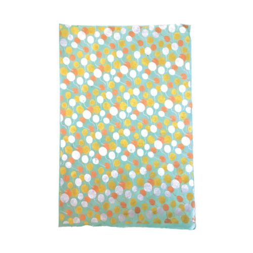 Handmade Wrapping Paper Sheet - Balloons Gold Copper Silver On Pool