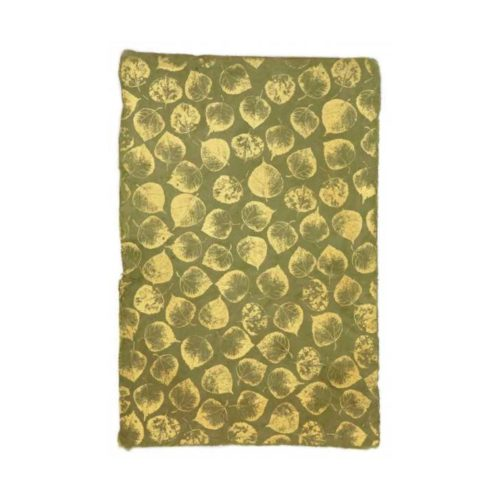 Handmade Wrapping Paper Sheet - Leaves Gold On Olive