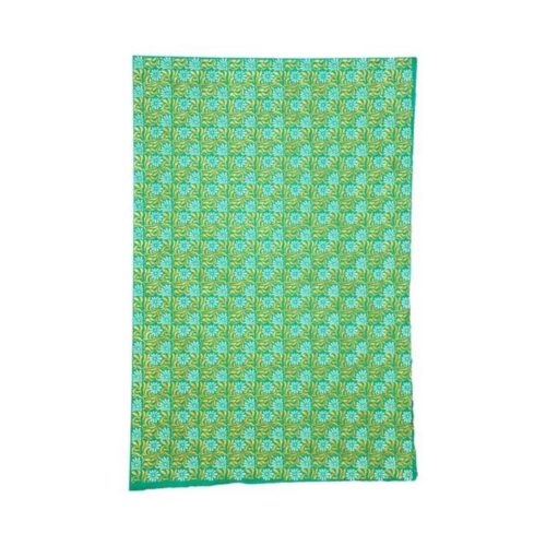 Handmade Wrapping Paper Sheet - Gold/White On Sea Green