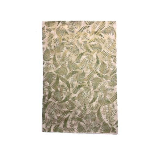 Handmade Wrapping Paper Sheet - Ferns Olive/Gold On Natural
