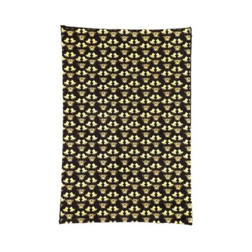 Handmade Wrapping Paper Sheet - Bees Gold On Black