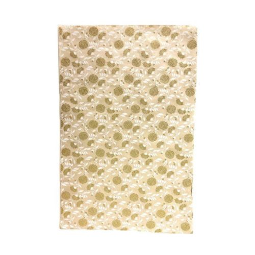 Handmade Wrapping Paper Sheet - Mums Flower Gold/White On White