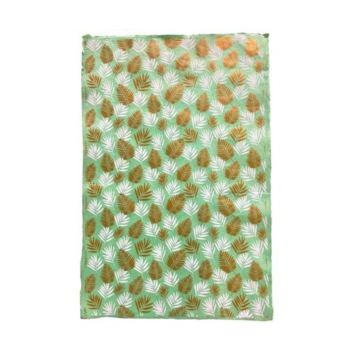 Handmade Wrapping Paper Sheet - Coconut Palm White Gold On Mint