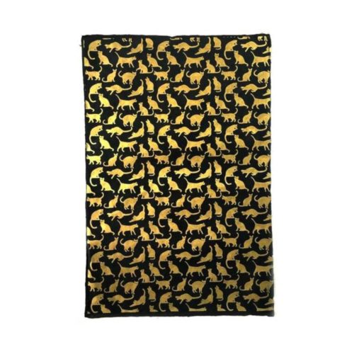 Handmade Wrapping Paper Sheet - Cats Gold On Black