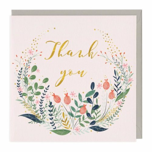 Whistlefish Foiled Card - Floral Thank You