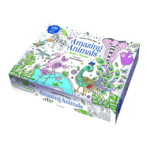 Colour Your Own Amazing Animals Book and Puzzle