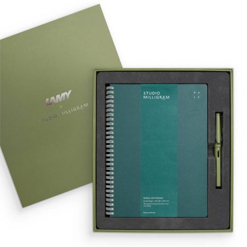 Studio Milligram LAMY Safari Fountain and Studio Milligram Notebook Gift Set - B5 - Savannah Green Pen - Teal