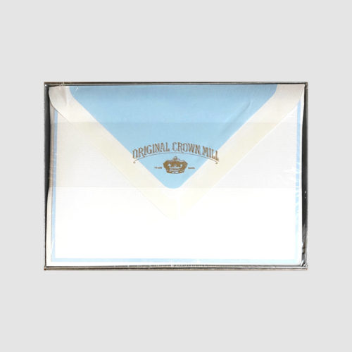 Original Crown Mill Boxed Card and Envelope Set - White/Ice Blue