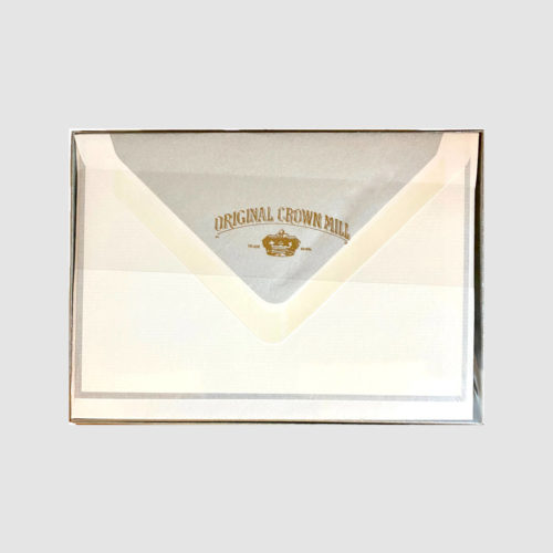 Original Crown Mill Boxed Card and Envelope Set - White/Silver