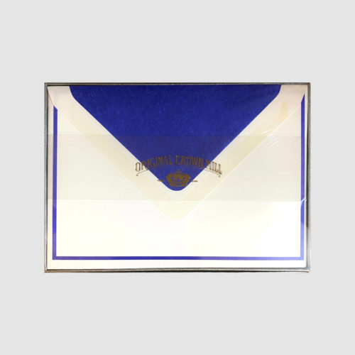 Original Crown Mill Boxed Card and Envelope Set - White/Royal Blue