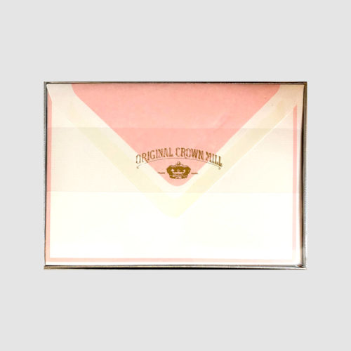 Original Crown Mill Boxed Card and Envelope Set - White/Pink