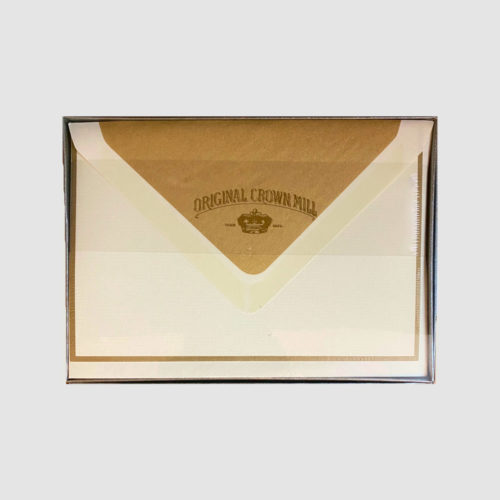 Original Crown Mill Boxed Card and Envelope Set - Cream/Gold