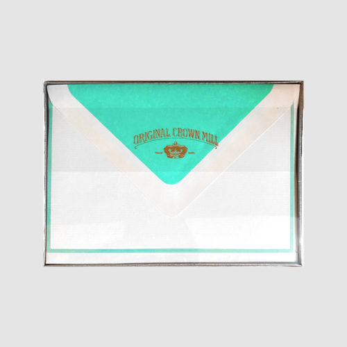 Original Crown Mill Boxed Card and Envelope Set - White/Turquoise