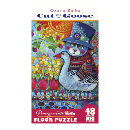 48 Piece Floor Puzzle - Cat with Goose by Oxana Zaika